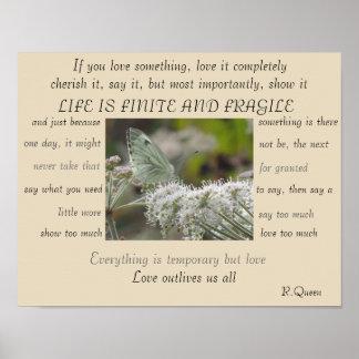 Póster La vida es poster finito y frágil