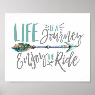 Póster La vida es un viaje goza del Wanderlust de Boho