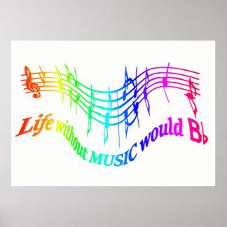 Póster La vida sin música cita inspirada de BFlat