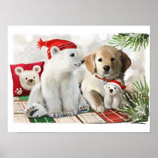 Póster Labrador de oro y el oso polar