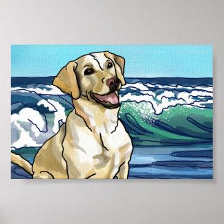 Póster Labrador retriever que juega en la playa de Hawaii