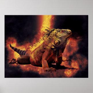 Póster Lagarto de la iguana en fuegos ardientes del