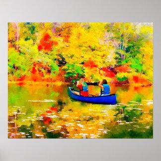 Póster Lago autumn en canoa