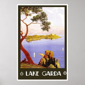 Póster Lago Garda Italia vintage del poster del viaje