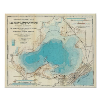Póster Lago hidrográfico Mendota map del vintage