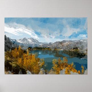 Póster Lago june en la gama de Sierra Nevada de
