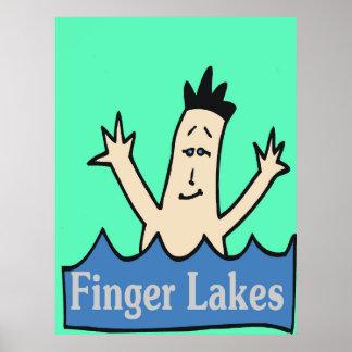 Póster Lagos finger, Estado de Nuevo York, vino, agua,