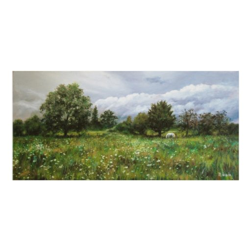 Póster Landscape with flowered grass and white horse