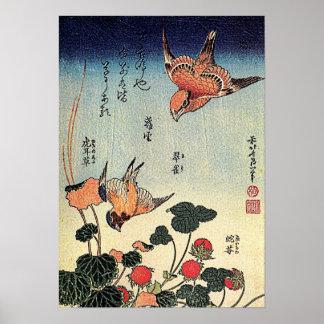 Póster Las fresas salvajes y los pájaros de Hokusai '