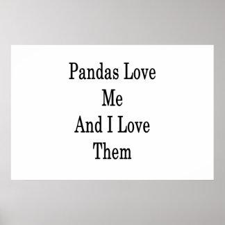 Póster Las pandas me aman y las amo