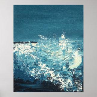 Póster Las roturas - paisaje abstracto azul