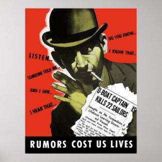 Póster Las rumores nos costaron vidas -- WW2