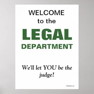 Póster Lema divertido para el departamento jurídico