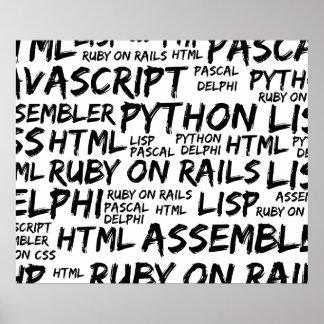 Póster Lenguajes de programación (Java, Pascal) - negro
