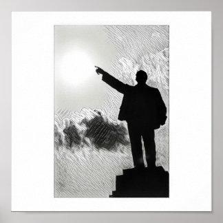 Póster Lenin estilizado que señala el poster de la manera