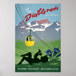 Póster Les Diablerets, Suiza, poster del viaje del