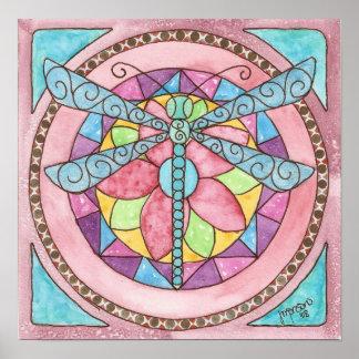 Póster libélula del cristal de colores