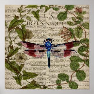 Póster libélula moderna del vintage de las hojas