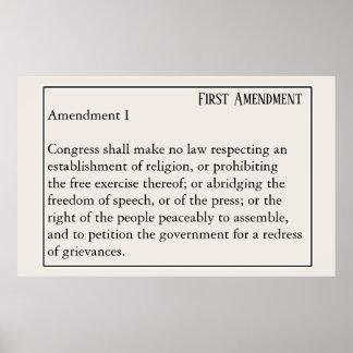 Póster Libertad de expresión de la constitución de la