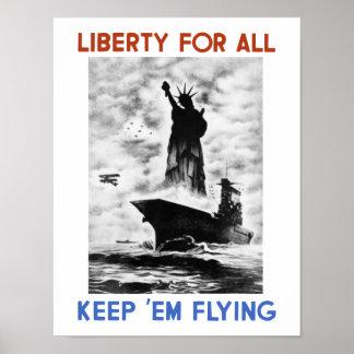 Póster Libertad para todos -- Segunda Guerra Mundial