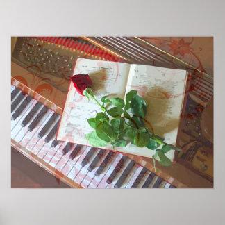 Póster Libro de música floral subió en piano