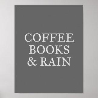 Póster Libros y lluvia del café - en el carbón de leña
