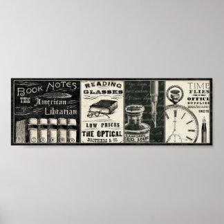 Póster Libros y materiales de oficina del vintage