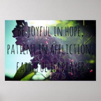 Póster Lila alegre, paciente, fiel del 12:12 de los