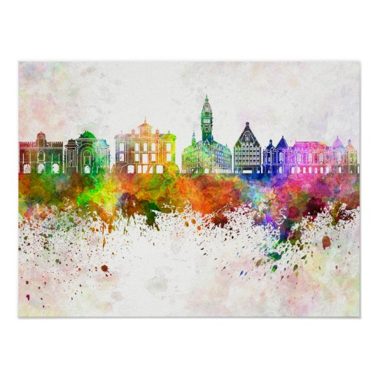 Póster Lille skyline in watercolor background