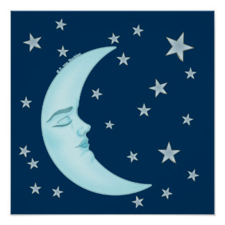 Poster lindo de la luna el dormir