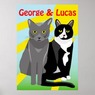 Poster lindo de los gatos del dibujo animado de póster