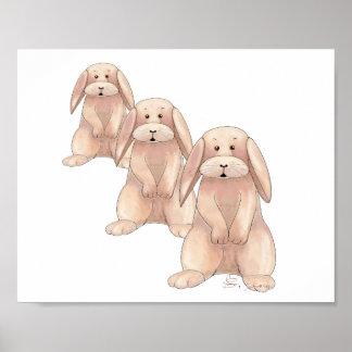 Poster lindo del conejo póster