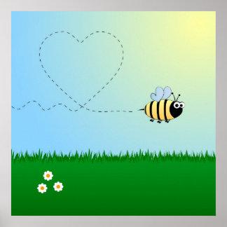 Póster Lindo manosee el dibujo animado de la abeja
