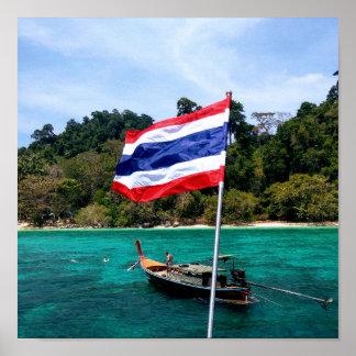 Póster Línea de la playa de Tailandia del barco