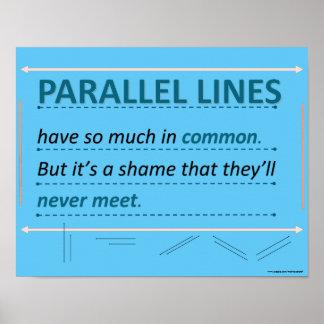 Póster Líneas del paralelo de la cita del humor de la