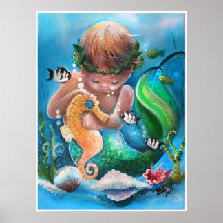 Póster Little Boy Merm y su caballo de mar