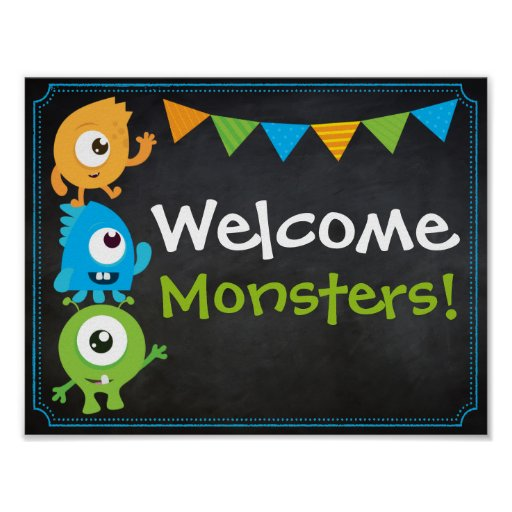Póster Little Monster Welcome Sign