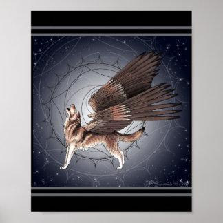 Póster Lobo con alas místico