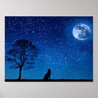 Póster Lobo que cautiva que grita en el poster de la luna