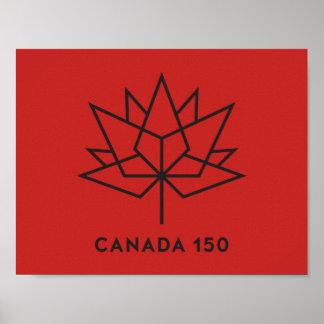 Póster Logotipo del funcionario de Canadá 150 - rojo y
