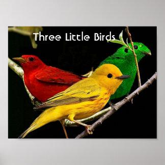 Póster Lona de la pared de tres pequeña pájaros