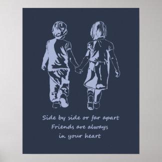 Póster Los amigos están siempre en su cita de la amistad