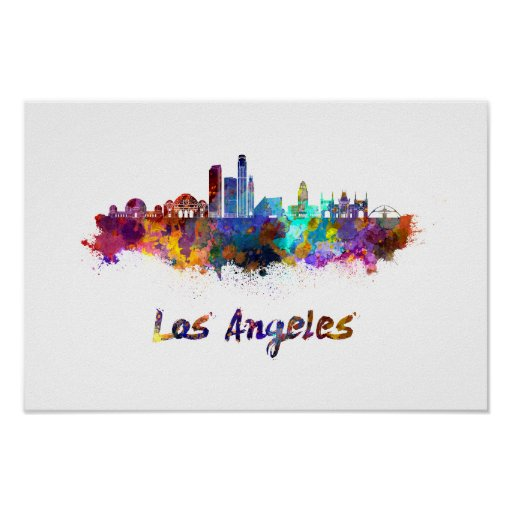 Póster Los Angeles skyline in watercolor