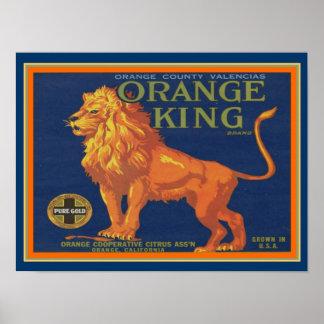 """Póster Los años 40 Label/Ad- 12x16 del """"rey anaranjado"""""""