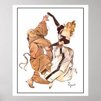 Póster Los años 90 gay monje y señora Dancing de Henry