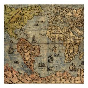 Póster Los continentes históricos del Atlas de la época