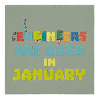 Póster Los ingenieros son en enero Zcu85 nacidos