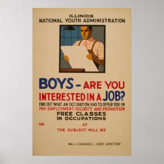 Póster Los muchachos - es usted interesado en un vintage