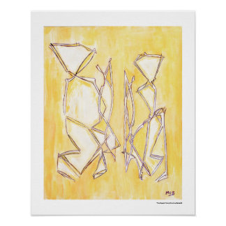 Póster Los pares abstractos amarillos se dirigen la