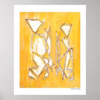 Póster Los pares abstractos amarillos se dirigen los